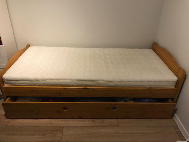 Łóżko pojedyncze drewniane z szufladą + materac 90x200