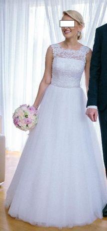 Suknia Ślubna z koronką i tiulem roz.36