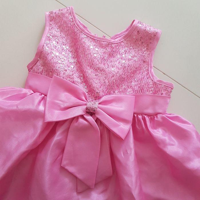 Sukienka wizytowa r. 80 9-12 m cekiny róż sztywna halka plus pantalony Białystok - image 1