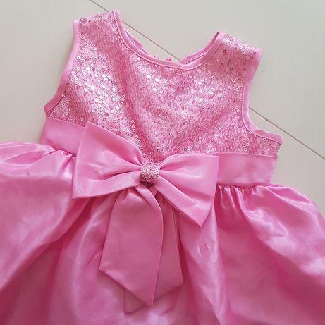 Sukienka wizytowa r. 80 9-12 m cekiny róż sztywna halka plus pantalony