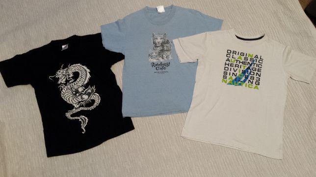 RAINFOREST CAFE, NAUTICA roz. 146, zestaw 3szt. koszulek, T-shirt