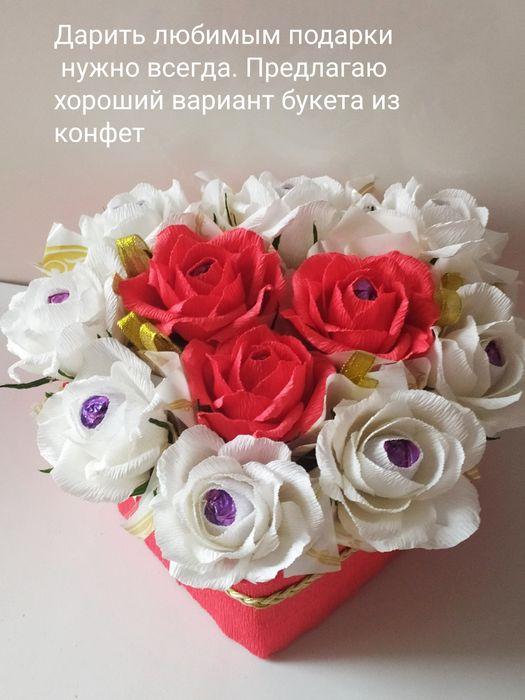 Букет из конфет в коробке сердечком Николаев - изображение 1