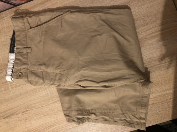 Трендовые бежевые котоновые брюки