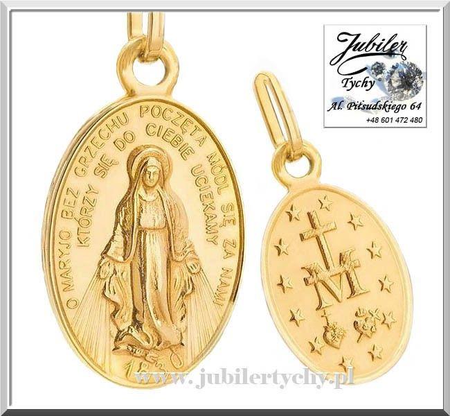Złoty cudowny medalik Matka Boża Boska Niepokalana Złoto Au 585 Tychy