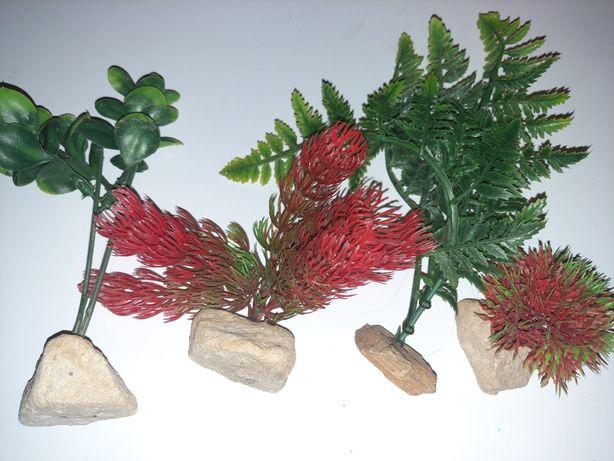 4 sztuczne rośliny do akwarium
