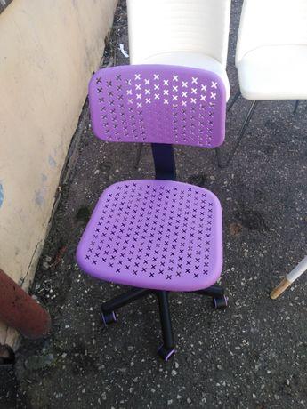 Krzesło biurowe obrotowe dziecięce / fotel biurowy fiolet/róż