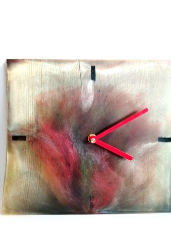 Zegar ścienny, drewniany, z żywicą epoksydową