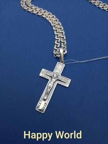 Серебряный крест + Серебряная цепь цепочка Серебро 925 пробы бисмарк