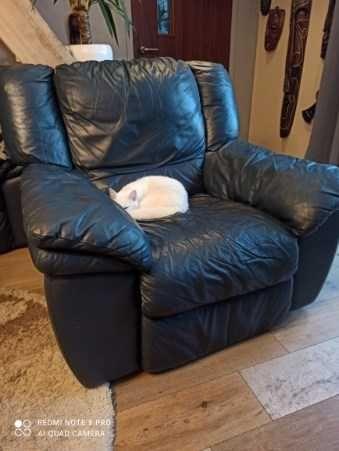 Zestaw skórzanej sofy i foteli