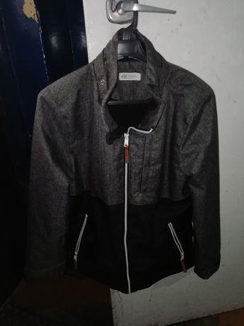 Szaro-czarna kurtka jesienno zimowa wiosenna młodzieżowa H&M