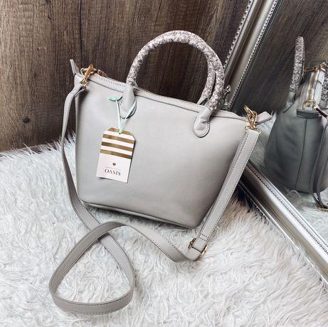 OASIS: Szara mała elegancka torebka kuferek z długim paskiem nowa
