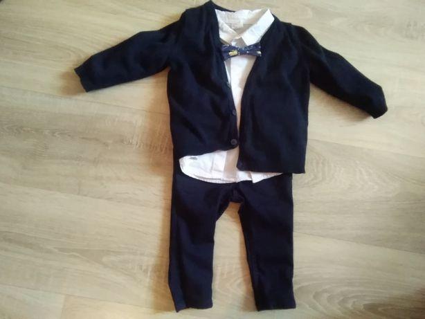 Komplet Hm r. 74 jak Nowy spodnie, koszula, sweterek , color granatowy