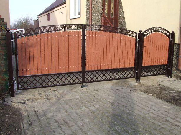 brama wjazdowa skrzydłowa przesuwna ogrodzenie drewno kompozyt