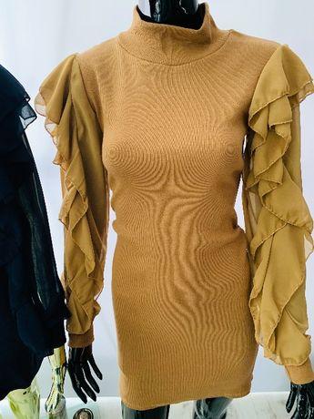 Sukienka Prążek z Szyfonowymi Rękawkami