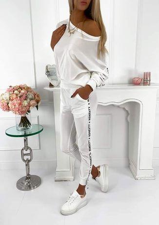 Nowy biały welurowy komplet dresowy z lampasem lampas napisy dres
