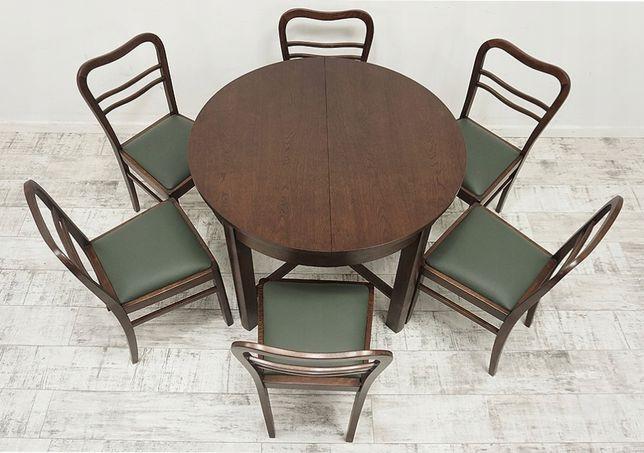 Antyczny Stół + 6 krzeseł z lat 30-tych. w stylu art-deco po renowacji