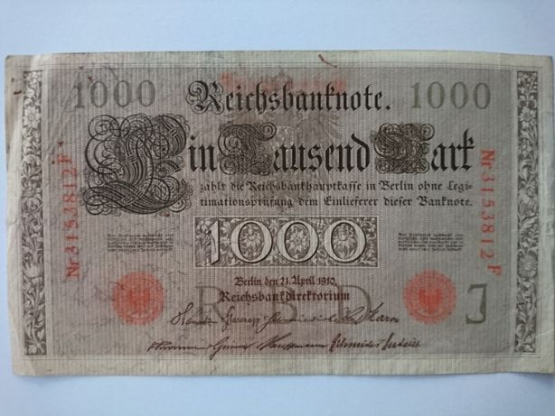Banknot 1000 marek z 1910r.