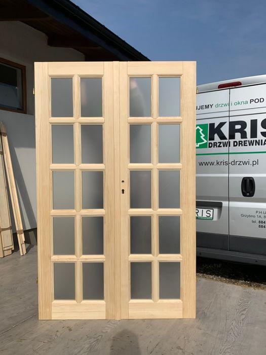 Drzwi dwuskrzydłowe drewniane francuskie od ręki szyba przezroczysta