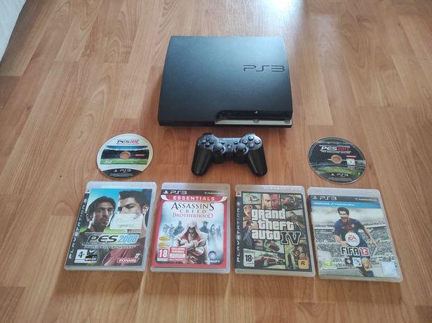 PS3 Slim c/jogos, comando e cabos