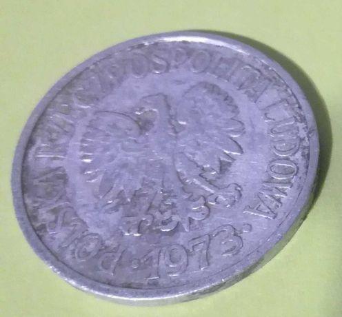 Stara moneta 20 groszy z 1973. Bez znaku menniczego.