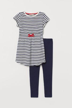 13-> komplet H&M sukienka w paski i legginsy r. 98/104 2-4Y