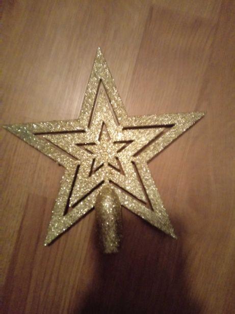 szpic gwiazda brokat kolekcja bożonarodzeniowa