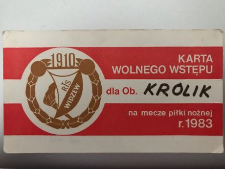 Bilet karta Widzew 1983