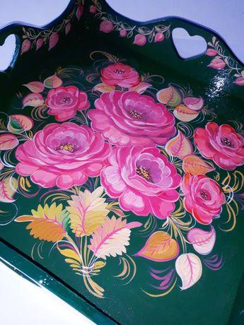 Поднос с Розами роспись