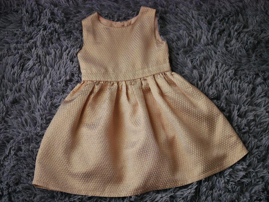 Przepiękna sukienka sukieneczka na wesele, chrzciny, komunię 104 złota Piotrków Trybunalski - image 1