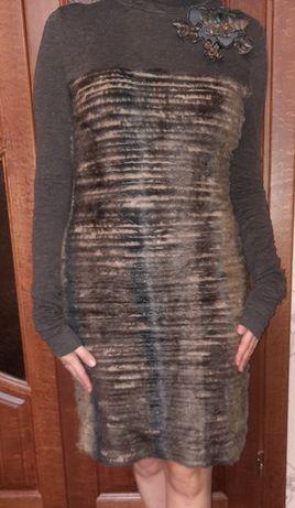 Платье теплое трикотаж с мехом, М-L