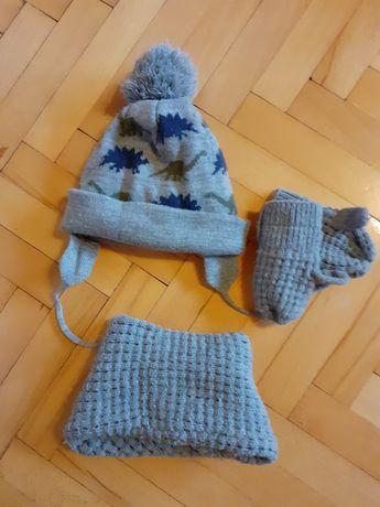 Zestaw zimowy ZARA czapka, komin i rękawiczki jednopalcowe