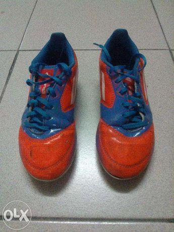 Chuteiras (Pitons) Adidas F5 Azuis/Laranja T:34