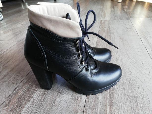 Skórzane Kozaki, buty na obcasie ocieplane