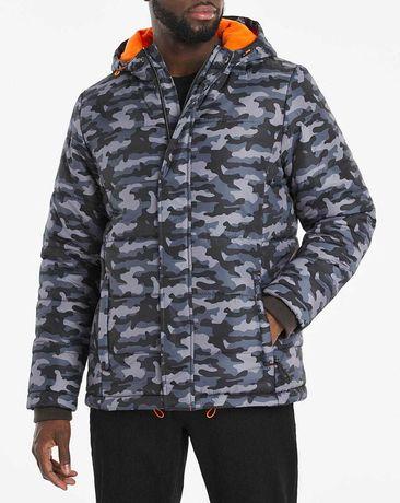Стеганая куртка-пуховик с капюшоном большой размер мужская