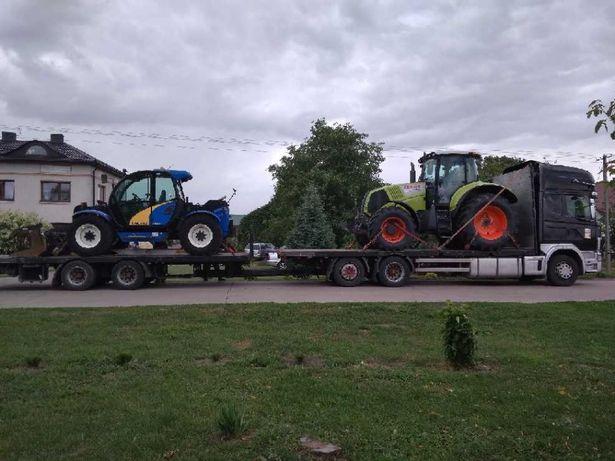 Transport maszyn rolniczych, budowlanych. Transport słomy, siana.