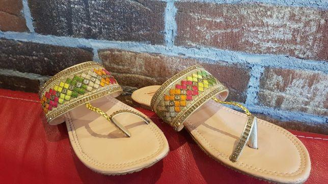 Sandały klapki japonki na duży palec orient Oman multikolor skórzane