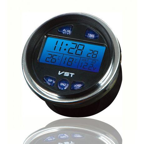 Автомобильные часы на ВАЗ + термометр + вольтметр, VST 7042V, Новые
