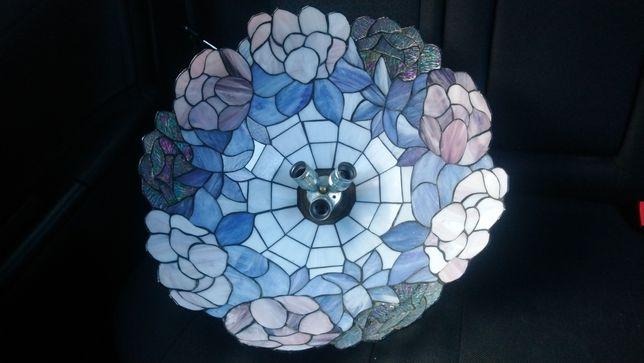 Duża lampa witrażowa wisząca żyrandol Tiffany