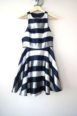 niebieska granatowa rozkloszowana sukienka w pasy newlook 36S34XS pasy