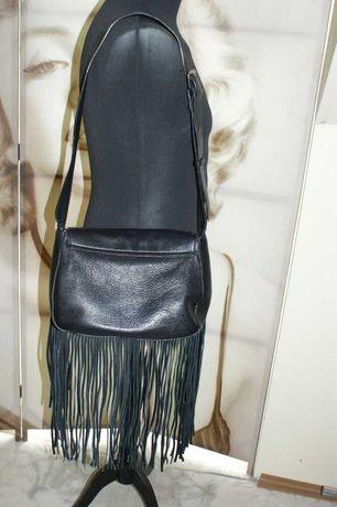 Torebka ZARA z frędzlami, torba ze skóry, skóra, czarna frędzle