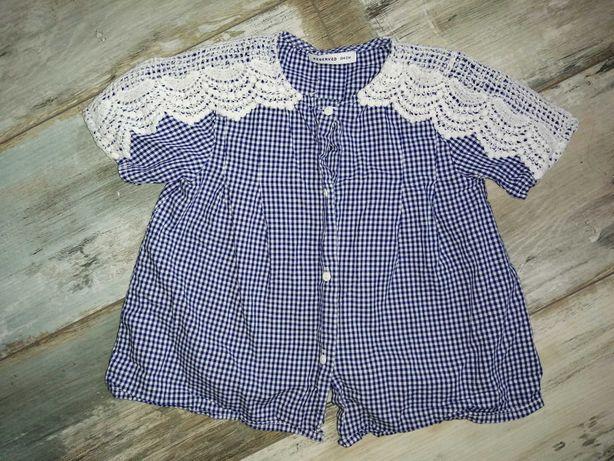 Koszula dziewczęca Reserved 104 krata/koronka