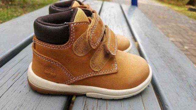 Детские кожаные демисезонные ботинки на липучках timberland