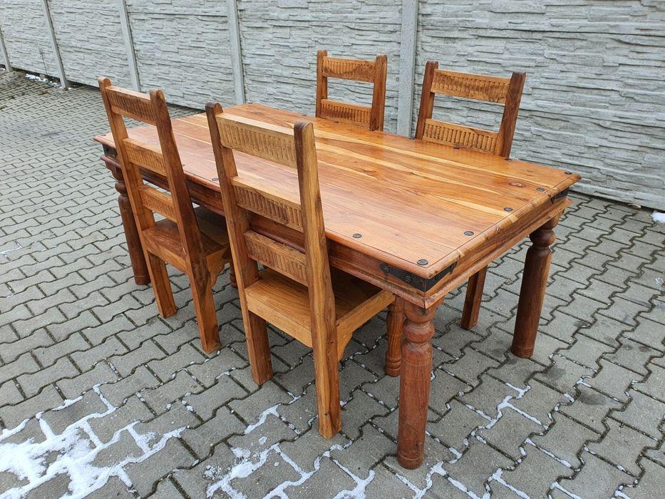 Ciekawy komplet tekowy stół +4 krzesla. Tarnowskie Góry - image 1