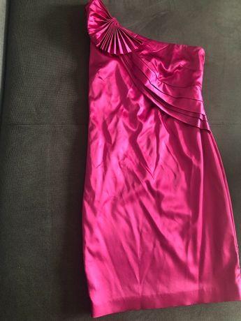 Asymetryczna sukienka, fuksja 38