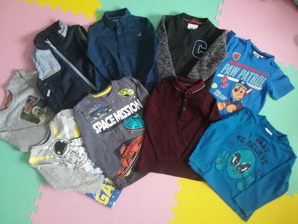 Ubrania chłopiec 110 koszula bluza bezrękawnik koszulka długi rękaw