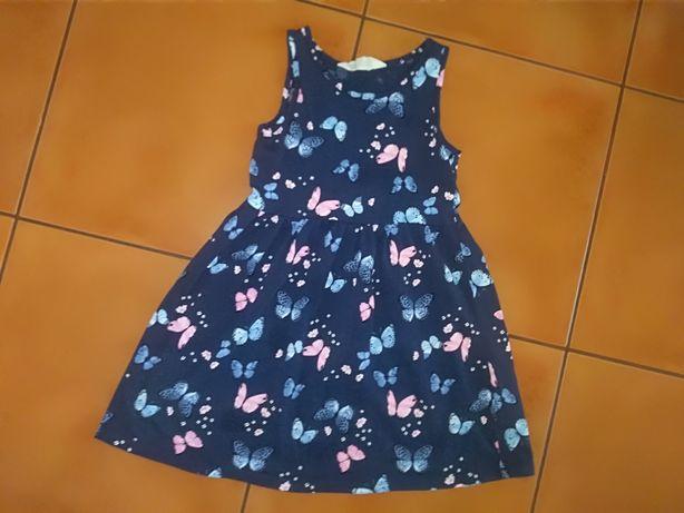 bawełniana sukienka letnia kolorowe motylki firmy H&M na 110-116cm
