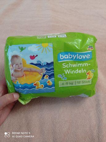 Подгузники памперсы babylove для плавания 4-9 кг и 9-12 кг