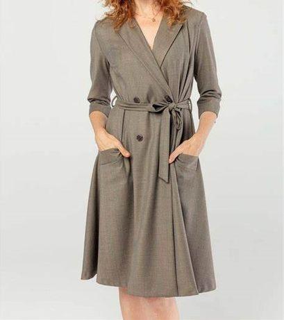 sukienka kmx żakietowa w jodełkę, dwurzędowa ptak moda
