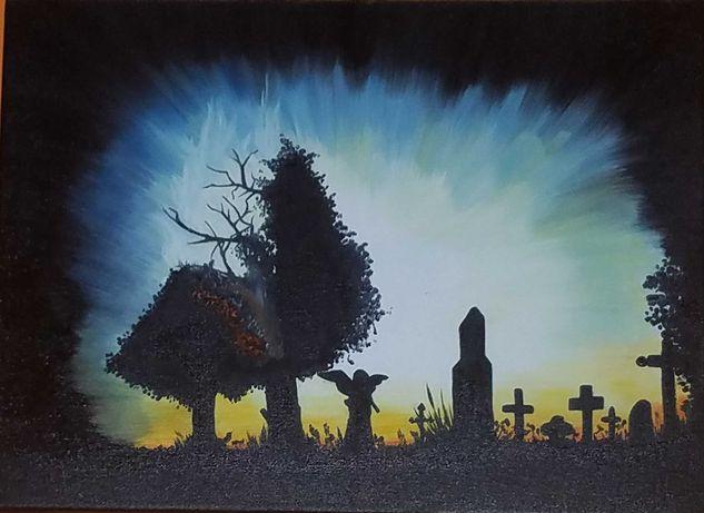 Obraz olejny 30x40 Cmentarz
