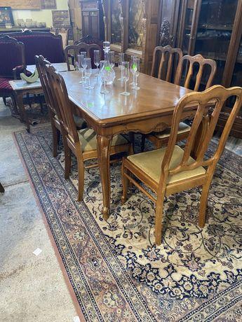 Stół + 6 krzeseł / komplet - ludwik / antyki stylowy wegrow